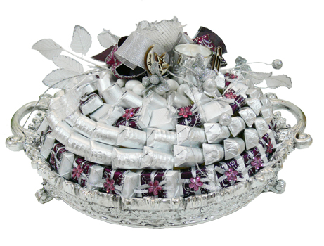 2.5Kg Belgian Assorted Chocolate on Silver Round Tray with Candle